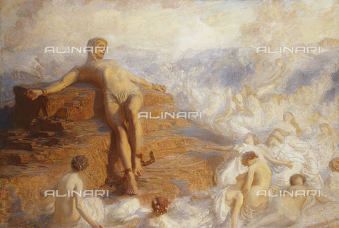 ATK-F-037876-0000 - Prometheus Consoled by the Spirits of the Earth 'How Fair These Air-Borne Shapes! And Yet I Feel Most Vain All Hope But Love...' -Shelley. 1900,Oil/Canvas,19th century,20th century,Watson,George Spencer,1869-1934 - Christie's Images / Artothek/Alinari Archives
