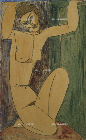 ATK-F-037879-0000 - Caryatid. 1913,20th century,Pencil/Watercolour,heightened with white,Modigliani,Amadeo,1884-1920 - Christie's Images / Artothek/Alinari Archives