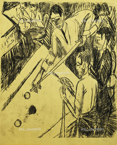 ATK-F-037881-0000 - Billiard Player. 1915,20th century,Lithography,on canary-yellow wove paper,Kirchner,Ernst Ludwig,1880-1938 - Christie's Images / Artothek/Alinari Archives