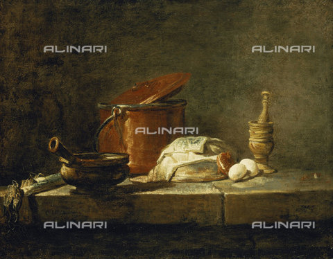ATK-F-037882-0000 - Leeks, a Casserole, a Copper Pot with a Cover, a Slice of Fish, an Onion and Two Eggs, with a Pestle and Mortar, on a Ledge. 1734,Chardin,Jean-Baptiste Siméon,1699-1779,Oil/Canvas,18th century,Still life - Christie's Images / Artothek/Alinari Archives