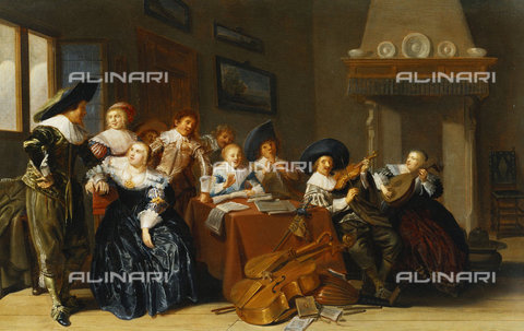 ATK-F-037883-0000 - Elegant Figures with Instruments Seated at a Table and a Young Lady Singing in a Interior. 1637,Oil/Wood,Baroque,17th century,Hals,Dirck,1591-1656 - Christie's Images / Artothek/Alinari Archives