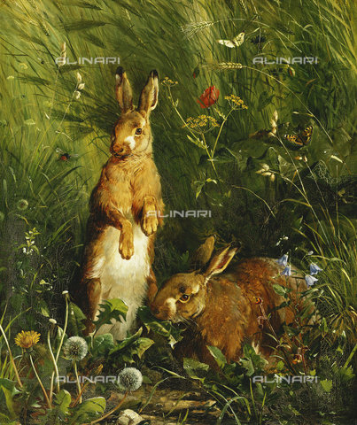 ATK-F-037886-0000 - Hares. 1878,Oil/Canvas,19th century,Hermansen,Olaf August,1849-1897 - Christie's Images / Artothek/Alinari Archives
