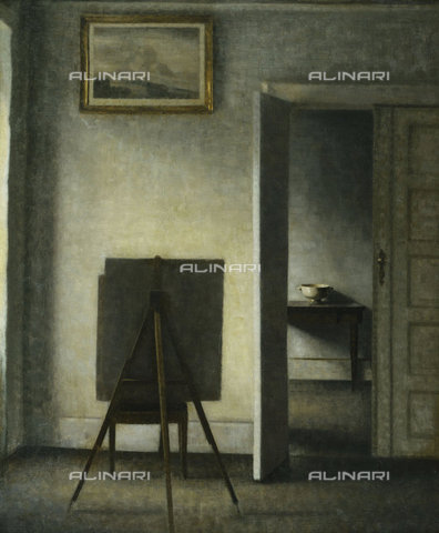 ATK-F-037887-0000 - An Interior with the Artist's Easel. (The picture shows two rooms from the artist's flat at Bredgade 25, Copenhagen.),20th century,19th century,Oil/Canvas,Hammershoi,Vilhelm,1864-1916 - Christie's Images / Artothek/Alinari Archives