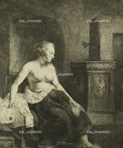 ATK-F-037891-0000 - A Woman Sitting Half-Dressed Beside a Stove. 1658,Rembrandt van Rijn,1606-1669,17th century,Radierung und Kaltnadel - Christie's Images / Artothek/Alinari Archives