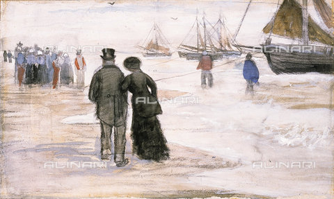 ATK-F-038034-0000 - The Beach at Scheveningen. 1882,Gogh,Vincent van,1853-1890,Gouache and watercolour,19th century,and charcoal on paper - Christie's Images / Artothek/Alinari Archives