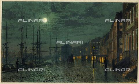 ATK-F-038371-0000 - City Docks by Moonlight.,Grimshaw,John Atkinson,1836-1893,oil on wood,19th century - Christie's Images / Artothek/Alinari Archives