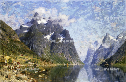 ATK-F-038505-0000 - Hardanger Fjord, Norway.,Normann,Adelsteen,1848-1918,Oil/Canvas,19th century,20th century,landscape - Christie's Images / Artothek/Alinari Archives