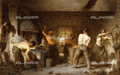ATK-F-038684-0000 - The Blacksmith's Forge.,Oil/Wood,19th century,Soyer,Paul Constant,1823-1903 - Christie's Images / Artothek/Alinari Archives