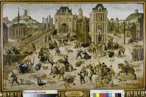 ATK-F-040823-0000 - St. Bartholomew's Day Massacre, 24th August 1572 (Death of Admiral Gaspard II de Coligny (1519-72),oil on wood,Dubois,Franà§ois,1529-1584,Lausanne,Musée d'Archeologie et d'Histoire - Artothek/Alinari Archives, Hans Hinz
