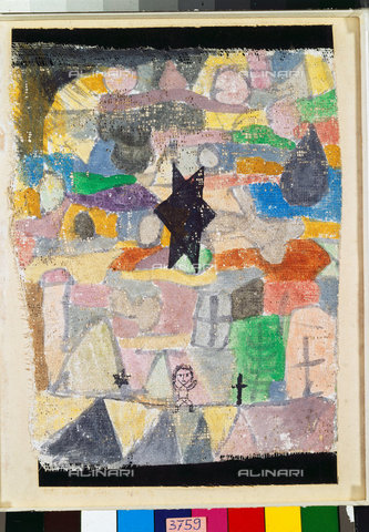 ATK-F-044974-0000 - Under a black star (Unter schwarzem Stern). 1918, 116,Klee,Paul,1879-1940,Basel,Kunstmuseum,Watercolour,20th century,on gesso ground on gauze,at the top and at the bottom with strips of paper on cardboard - Artothek/Alinari Archives, Hans Hinz