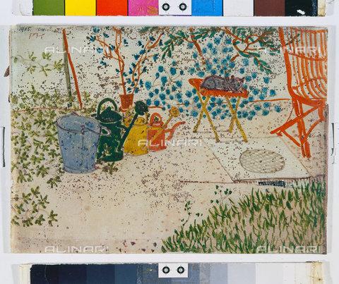 ATK-F-045107-0000 - Garden scene (watering cans, a cat, a red chair) Gartenscene (GieàŸkannen, e. Katze, e. roter Stuhl). 1905, 24,Klee,Paul,1879-1940,Bern,Zentrum Paul Klee,Watercolour,20th century - Artothek/Alinari Archives, Hans Hinz