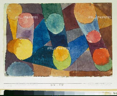 ATK-F-045114-0000 - Abstract, coloured circles bound by coloured bands (Abstract, farbige Kreise durch Farbbà¤nder verbunden). 1914, 218,Klee,Paul,1879-1940,Bern,Zentrum Paul Klee,Aquarell/Papier auf Karton,20th century - Artothek/Alinari Archives, Hans Hinz