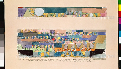 ATK-F-045134-0000 - Hoch und strahlend steht der Mond... 1916, 20,Klee,Paul,1879-1940,Private Collection,20th century,Watercolour and pen,on paper,cut into pieces and newly arranged,on cardboard - Artothek/Alinari Archives, Hans Hinz