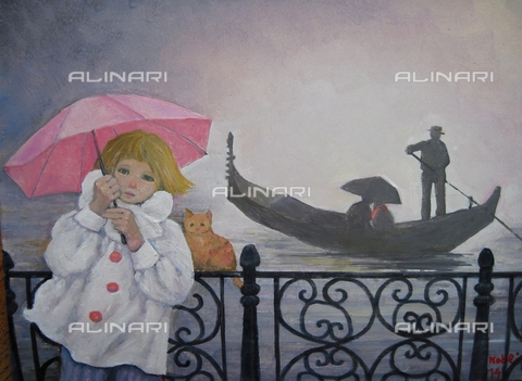 ATK-F-058049-0000 - Venedig, rose Regenschirm (Venice, pink umbrella), oil on paper, Renate Koblinger (1943-) - Renate Koblinger / Artothek/Alinari Archives