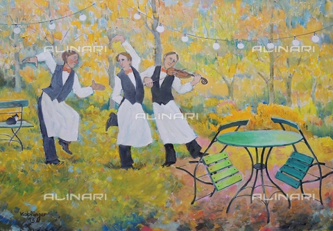 ATK-F-058069-0000 - Tanz der Oberkellner / Dance of the Head Waiters. 2012, oil on paper, Renate Koblinger (1943-) - Renate Koblinger / Artothek/Alinari Archives