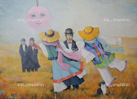 ATK-F-058070-0000 - Die Elegant Vogelscheuchen/ The Elegant Scarecrows. 2012, oil on paper, Renate Koblinger (1943-) - Renate Koblinger / Artothek/Alinari Archives
