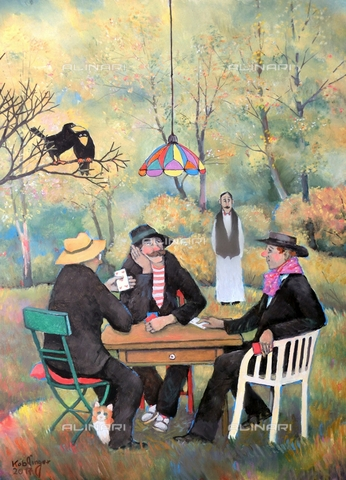 ATK-F-058074-0000 - Kartenspiel im Herbst/ Playing Cards in Autumn. 2017, oil on paper, Renate Koblinger (1943-) - Renate Koblinger / Artothek/Alinari Archives
