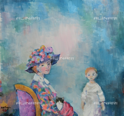 ATK-F-058085-0000 - Mutter with Kind/ Mother with Child. 2016, oil on paper, Renate Koblinger (1943-) - Renate Koblinger / Artothek/Alinari Archives
