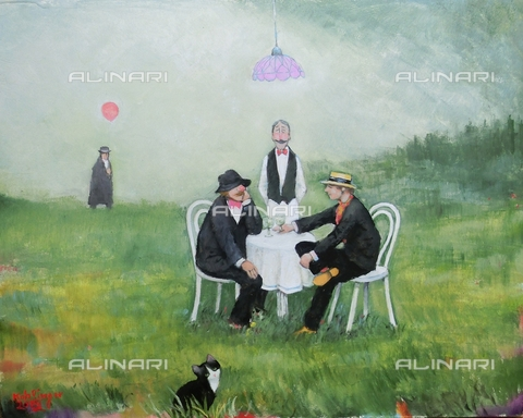 ATK-F-058093-0000 - Die Weinkost im Grünen/ Winetasting in the open. 2015, oil on paper, Renate Koblinger (1943-) - Renate Koblinger / Artothek/Alinari Archives