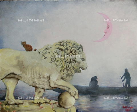 ATK-F-058097-0000 - The Venetian Lives / The Venetian Lion. 2016, oil on paper, Renate Koblinger (1943-) - Renate Koblinger / Artothek/Alinari Archives