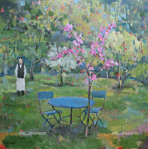 ATK-F-058099-0000 - Der Gastgarten/ The Beer Garden. 2015. (The Beer Garden 2015), oil on paper, Renate Koblinger (1943-) - Renate Koblinger / Artothek/Alinari Archives
