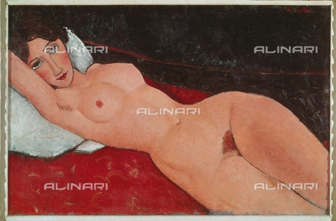 ATK-F-059284-0000 - Female nude lying on a white cushion, oil on canvas, Amedeo Modigliani (1884-1920), Staatsgalerie, Stuttgart - Alexander Koch / Artothek/Alinari Archives