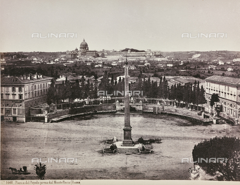 AVQ-A-000039-0052 - View of Piazza del Popolo from Pincio (or Pinciano Hill), Rome - Data dello scatto: 1870 ca. - Archivi Alinari, Firenze