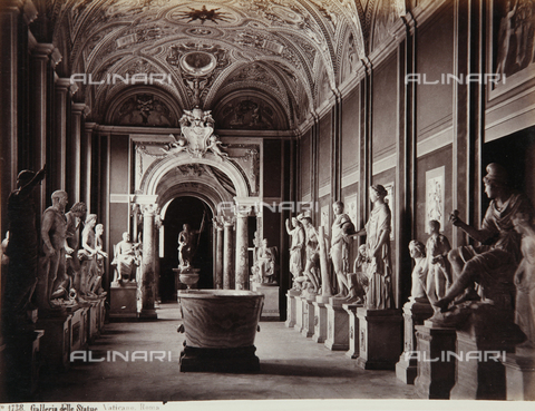 AVQ-A-000039-0065 - Statue Gallery at the Pio-Clementino Museum, Vatican Museum, Vatican City - Data dello scatto: 1870 ca. - Archivi Alinari, Firenze