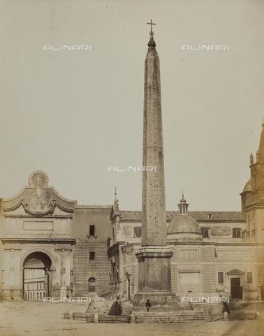 AVQ-A-000089-0015 - Photographic pictures of Rome: l'Obelisco Flaminio in Piazza del Popolo - Data dello scatto: 1862 - Raccolte Museali Fratelli Alinari (RMFA), Firenze