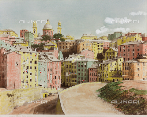 AVQ-A-000110-0069 - Via Mura delle Grazie in Genoa, with the Church of Santa Maria Assunta in Carignano in the background - Data dello scatto: 1880-1890 - Archivi Alinari, Firenze