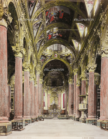 AVQ-A-000110-0075 - Inner view of the Church of the Santissima Annunziata, Genoa - Data dello scatto: 1880-1890 - Archivi Alinari, Firenze