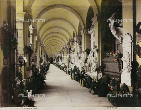 AVQ-A-000110-0077 - The lower arcade of the Staglieno Monumental Cemetery in Genoa, designed by the architect Giovan Battista Resasco - Data dello scatto: 1880-1890 - Archivi Alinari, Firenze