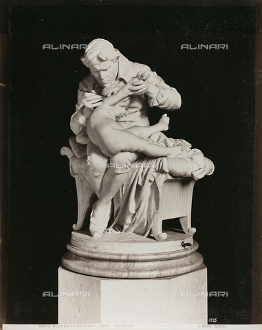 AVQ-A-000110-0091 - Jenner administering the smallpox vaccine to his son, marble, Giulio Monteverde (1837-1917), Gallery of Palazzo Bianco, Genoa - Data dello scatto: 1880-1890 - Archivi Alinari, Firenze