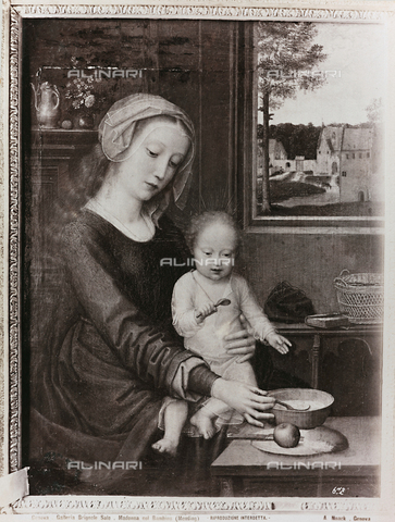 "AVQ-A-000110-0094 - Madonna and Child known as ""Our Lady of pap"", oil on panel, Gerard David (ca. 1460-1523), Gallery of Palazzo Rosso, Genoa - Data dello scatto: 1880-1890 - Archivi Alinari, Firenze"