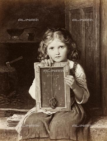 AVQ-A-000144-0394 - Portrait of little girl with blackboard, oil on canvas, Johann Georg Meyer known as Meyer von Bremen (1813-1886)