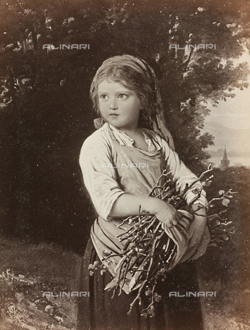 AVQ-A-000144-0408 - Girl with bundle of wood, oil on canvas, Johann Georg Meyer known as Meyer von Bremen (1813-1886)