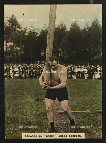 AVQ-A-000146-0116 - An athlete launching in a Caber toss race, during the Scottish Highland Games
