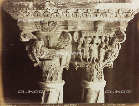 AVQ-A-000169-0036 - Due capitelli nel Chiostro del Duomo di Monreale - Data dello scatto: 1870-1880 - Raccolte Museali Fratelli Alinari (RMFA), Firenze