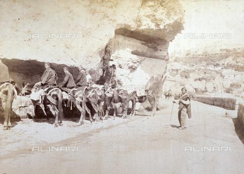 AVQ-A-000209-0038 - L'immagine ritrae un gruppo di giovani uomini intenti ad abbeverare i propri cavalli ad una fonte nei pressi di Taormina - Data dello scatto: 1870-1890 ca. - Archivi Alinari, Firenze