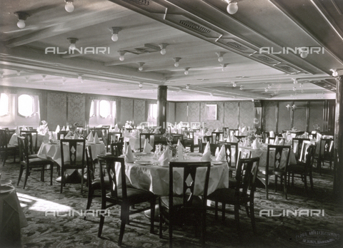 AVQ-A-000213-0035 - View of the second class dining room of the German transatlantic liner 'Cap Arcona'