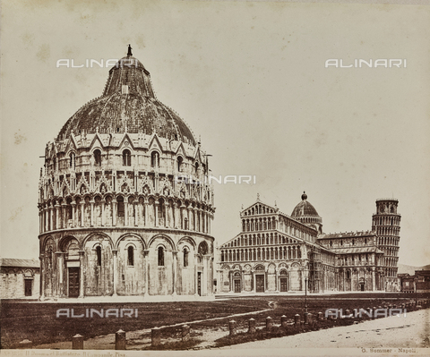 AVQ-A-000258-0023 - View of Piazza dei Miracoli in Pisa with the Baptistery of St. John, the Cathedral and the Tower - Data dello scatto: 1880-1890 - Archivi Alinari, Firenze