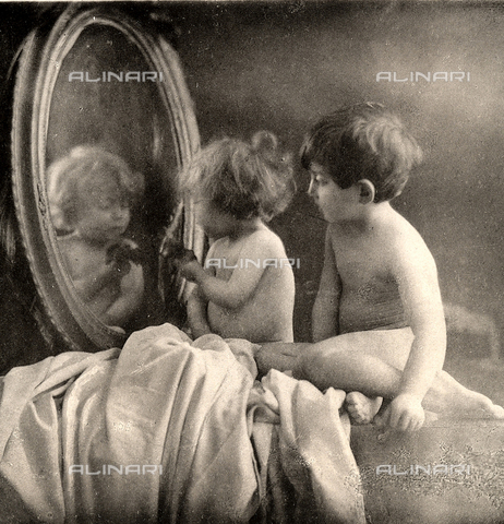 AVQ-A-000283-0025 - Two nude children play in front of a mirror