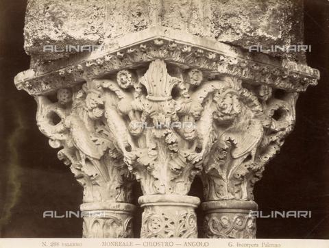 AVQ-A-000424-0077 - Capitello del chiostro del Duomo di Monreale - Data dello scatto: 1880 ca. - Raccolte Museali Fratelli Alinari (RMFA), Firenze
