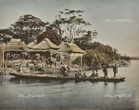 AVQ-A-000433-0067 - Japanese village and barge on the river - Data dello scatto: 1868 - 1877 - Archivi Alinari, Firenze