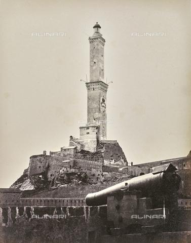 """AVQ-A-000439-0022 - Album """"La Corniche - Italie 1871-1876"""": the lighthouse of Genoa - Data dello scatto: 1871-1876 - Archivi Alinari, Firenze"""