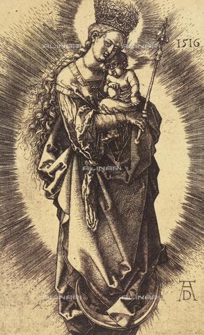 AVQ-A-000493-0034 - Incisione di Albrecht Durer raffigurante Maria Vergine incoronata col Bambino - Data dello scatto: 1861 - Raccolte Museali Fratelli Alinari (RMFA), Firenze