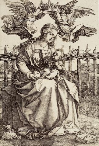 AVQ-A-000493-0041 - Incisione di Albrecht Durer raffigurante Angeli che incoronano la Vergine che tiene in grembo il Figlio - Data dello scatto: 1861 - Archivi Alinari, Firenze