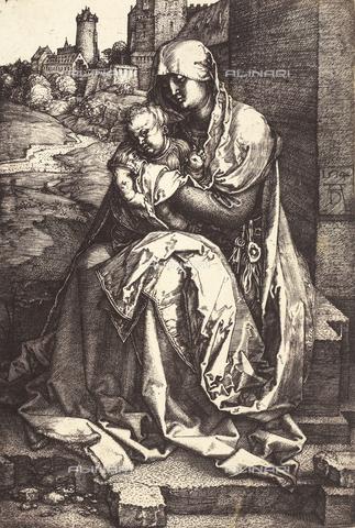 AVQ-A-000493-0042 - Incisione di Albrecht Durer raffigurante la Madonna col Bambino seduta davanti ad un muro - Data dello scatto: 1861 - Archivi Alinari, Firenze