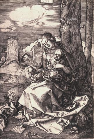 AVQ-A-000493-0043 - Incisione di Albrecht Durer raffigurante la Madonna che offre una mela al Bambino - Data dello scatto: 1861 - Archivi Alinari, Firenze