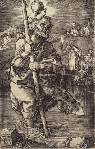AVQ-A-000493-0054 - San Cristoforo e Gesù Bambino, incisione di Albrecht Durer - Data dello scatto: 1861 - Raccolte Museali Fratelli Alinari (RMFA), Firenze